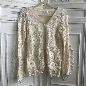 Delicacy Floral Crochet Cardigan in Ivory Beige